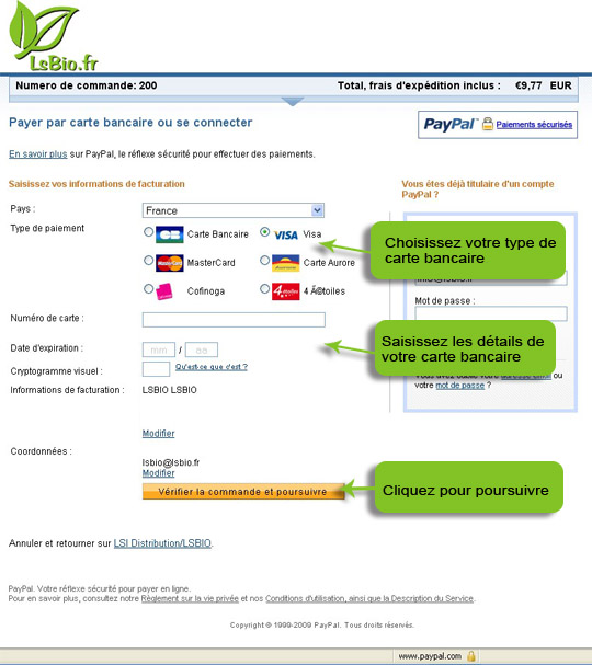 Formulaire Paypal